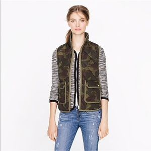 J Crew Camo Excursion Quilted Vest Small